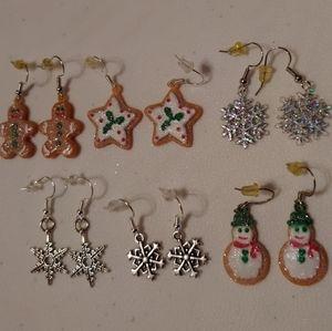 6 pair christmas earring sets